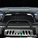 Topline Autopart Matte Black Bull Bar Brush Push Front Bumper Grill Grille Guard With Brush Aluminum Skid Plate For 07-18 Toyota Tundra ; 08-17 Sequoia