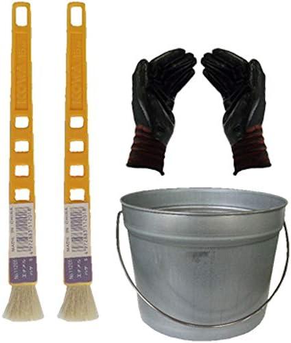 ペール缶付き黄柄エナメルハケS 2本(作業手袋付き)通常便
