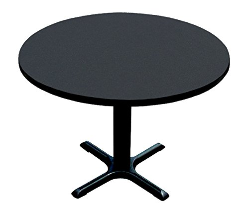 Black Bar Table Base - Correll BXT24R-07 Black Granite Top and Black Base Round Bar, Café and Break Room Table, 24