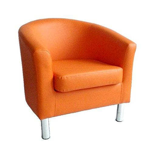 Moderner Tub Stuhl Sessel Kunstleder mit Chrom Beinen Home Esstisch Wohnzimmer Lounge Office Empfang orange