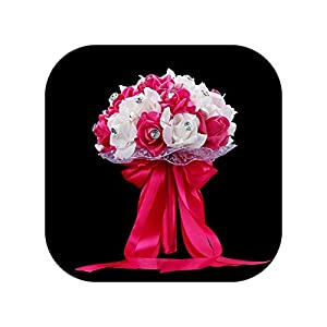 meiguiyuan Wedding Bouquet 6 Colors Bridal Foam Flowers Ribbon Handmade Crystal Wedding Bouquets for Women 12