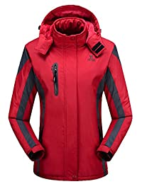EkarLam Hooded Fur Fleece Quilted Winter Outdoor Pioneer Ski-wear Wind Jacket