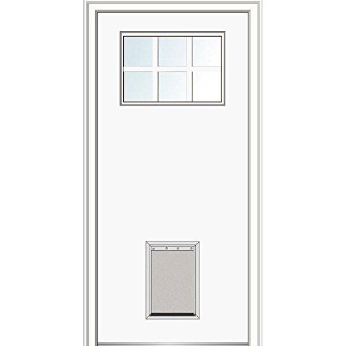National Door Company Z029004R Fiberglass Smooth, Primed, Right Hand In-Swing, Exterior Prehung Door, Craftsman 6-Lite with Pet Door, 32