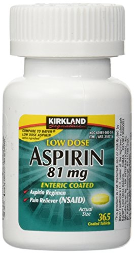 Kirkland Low Dose Aspirin 81mg 365 Enteric Coated Tablets for Pain Reliever. Regular Intake Prevents Heart Attack.