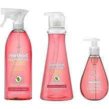 Method's Naturally Derived Kitchen Essentials Bundle, Pink Grapefruit: Hand Soap 12 oz, Dish Soap 18 oz. & Surface Cleaner 28 oz.