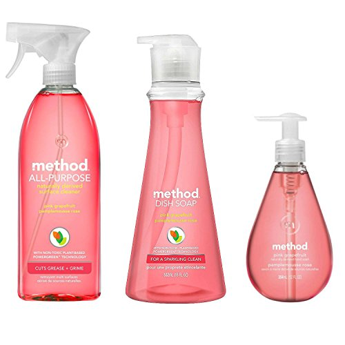 Method Naturally Derived Kitchen Essentials Bundle, Pink Grapefruit: Hand Soap 12 oz, Dish Soap 18 oz. & Surface Cleaner 28 oz.