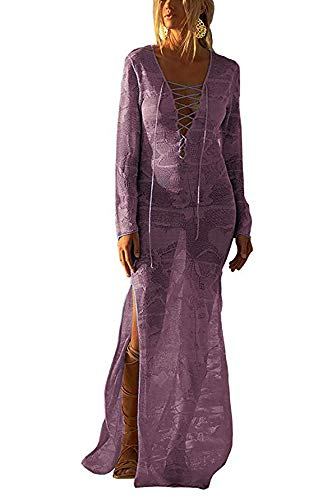 Free Rose Women Lace Up V Neck Long Sleeve Crochet Swimsuit Cover Up Dress (Purple)