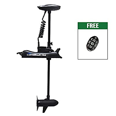 "Haswing Black 12V 55LBS 48"" Shaft Bow Mount Electric Trolling Motor Portable, Variable Speed for Bass Fishing Boats Freshwater and Saltwater Use, Energy Saving, Precise Control, Quiet Operation"