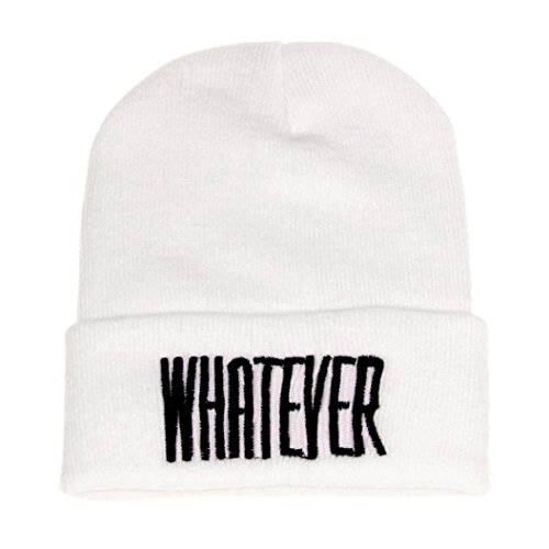 Perman Winter Black Whatever Beanie Hat Snapback Men Women Cap (One size, White)