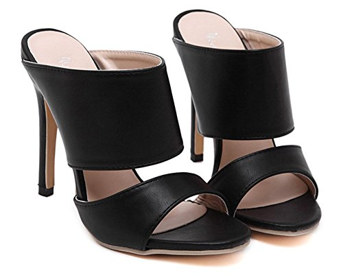 Aisun Womens Classic Simple Open Toe Dress Slip On Stiletto High Heels Slide Sandals Mules Shoes Black vsoMxS