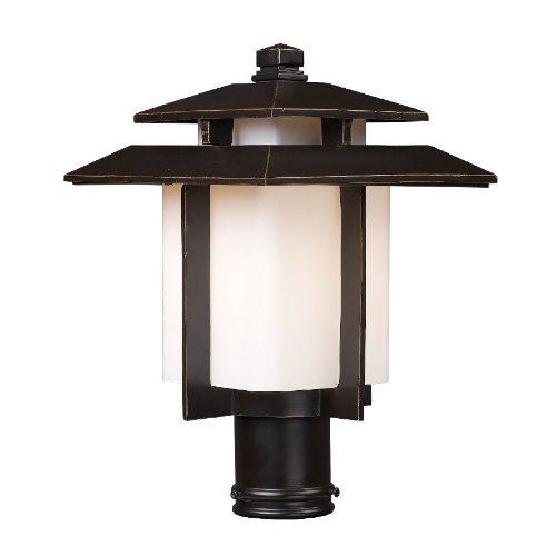 - Elk Lighting 42173-1 Kanso 1 Light Asian Outdoor Post Lamp Lighting Fixture, Hazlenut Bronze, White Glass, B12429