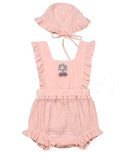 Newborn Infant Baby Girl Clothes Lace Halter Backless Jumpsuit Romper Bodysuit Sunsuit Outfits Set (Pompom Cotton Romper with Hat-Pink, 18-24 Months)