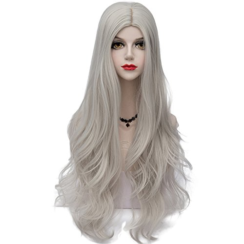 TOP-MAX White Long 80CM Middle Part Curly Heat Resistant Lolita Fashion Women Cosplay Wig + Wig Cap ()