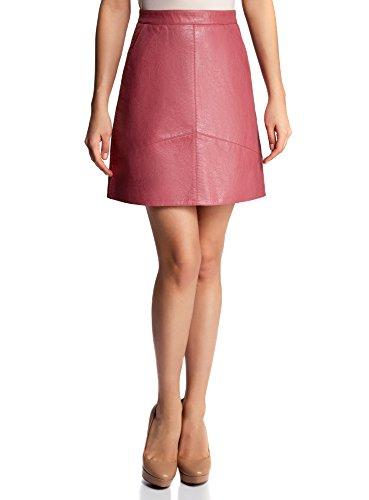 oodji Ultra Mujer Falda Trapecio de Piel Sintética Rosa (4A00N)
