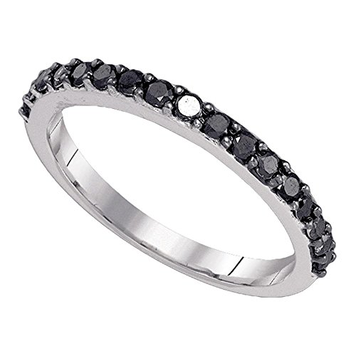 Black Diamond Wedding Band Solid 10k White Gold Semi Eternity Ring Stackable Style Round Pave Set 1/2 ctw ()
