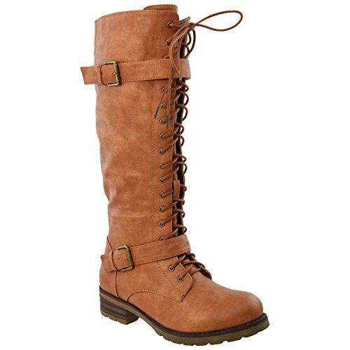 Lace Combat Straps 466 Boots Womens Faux Knee GY Generation High Tan Up Y Buckle Leather WB CwXqx06T