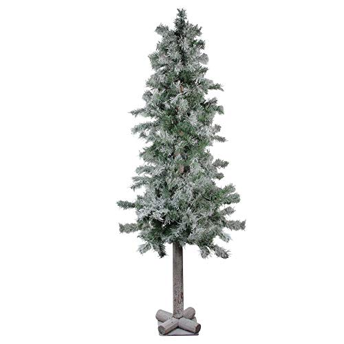 Flocked Alpine Tree - Northlight Artificial Christmas Alpine Trees, 5 Foot, Green