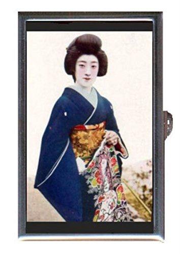 Japanese Geisha Girl in Blue Kimono Antique Art Decorative Pill Box