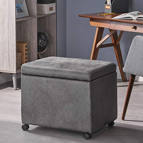 Christopher Knight Home Tina Traditional Microfiber Storage Ottoman for Home or Office, Slate (Wheels Microfiber Ottoman)