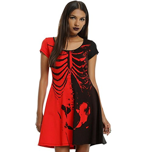 Gillberry Women Halloween Ladies Slim Bone Bodycon Club Party Cocktail Mini Dresses (S, Red)