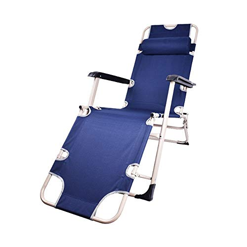 Limaomao Zero Gravity Chair Reclining Deck Chairs Sun Bed Patio Conservatory Garden Folding Sun Loungers Garden Chair for Lounge Sunbathing (Color : Blue, Size : 478092cm) (Danny Deck Chair)