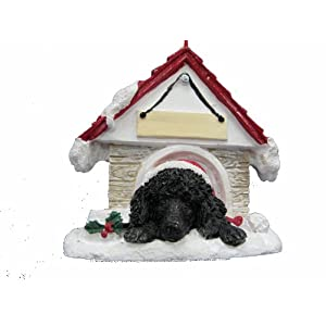 """Poodle Ornament Black A Great Gift For Poodle Owners Hand Painted and Easily Personalized """"Doghouse Ornament"""" With Magnetic Back 24"""