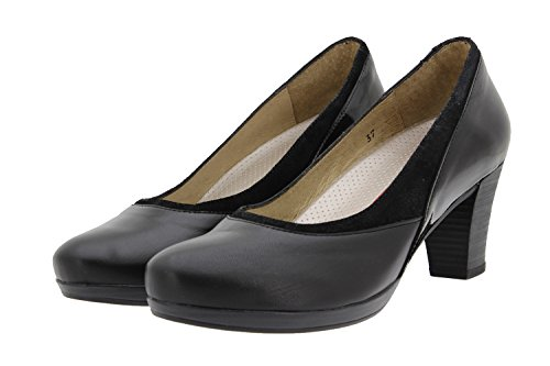 Calzado mujer confort de piel Piesanto 9311 zapato salón cómodo ancho Negro