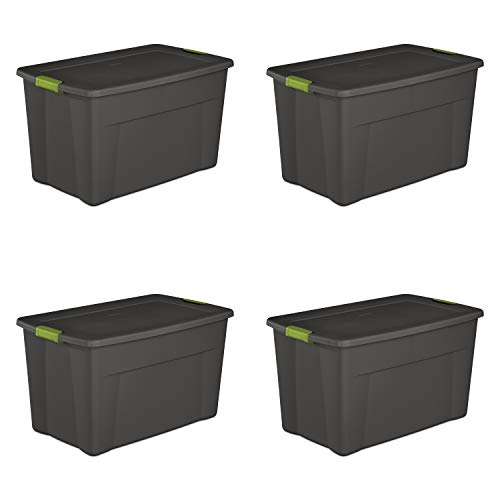 (Sterilite 19453V04 35 Gallon/ 132 Liter Latch Tote, Flat Gray Lid & Base w/ Soft Fern Latches, 4-Pack)