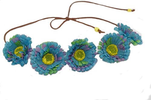 Hippie 2 Piece Headband (Floral Fall Daisy Flower Crown Wedding Bridal Headpiece Hippie flower Headbands F-57)