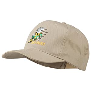 Navy Seabees Symbol Embroidered Cap - Khaki