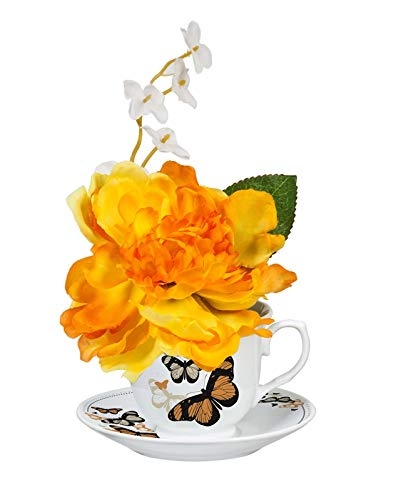 Yellow Brilliant Peony in Ceramic Tea Cup with Saucer ()