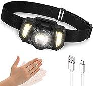 LED Headlamp, Super Bright Rechargeable Head Lamp with Motion Sensor 6 Lighting Modes, Waterproof Head Flashli