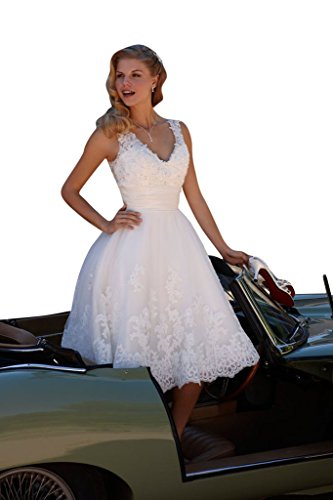 Womens Short Lace White Wedding Dress Bride Party Gown - 6