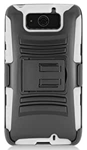QualityStores Armor Case w/ Holster & Swivel Belt Clip Combination for Motorola DROID MAXX XT1080M [Verizon] (White / Black)