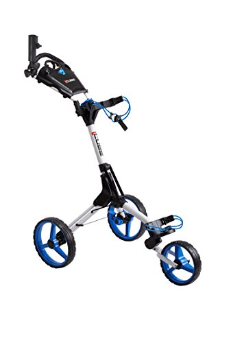 - Cube CART 3 Wheel Push Pull Golf CART - Two Step Open/Close - Smallest Folding Lightweight Golf CART in The World - Choose Color! (White/Blue)