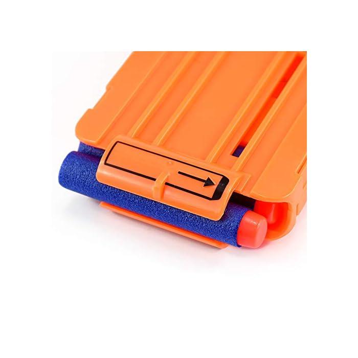 Seguro: con una textura plástica de esponja de EVA extra suave, puede doblarse o distorsionarse de manera flexible. El cabezal de plástico de cada bala está fuertemente conectado, no se preocupe que se desarmará fácilmente. Compatibilidad: la dimensión aproximada de cada dardo: 7.2x1.2cm / 2.83x 0.47 pulgadas. Se adapta a la mayoría de las pistolas de bala blandas N-graves. Fácil de transportar y almacenar Precaución: Para evitar lesiones oculares, no dispare a las personas directamente, especialmente en la cara. Sería más seguro para ti jugar bajo cualquier dispositivo de protección ocular.