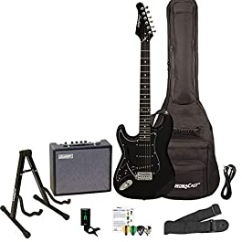 Sawtooth Left Handed ST Style Electric Guitar Black w/Black Pickguard with Lesson, ChromaCast Gig Bag, Stand, Pro Series…