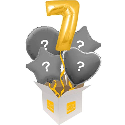 5 Balloon Bouquet InterBalloon Helium Inflated 34  Number 7 gold Megaloon Balloon Delivered in a Box with 4 Extra Balloons of your choice