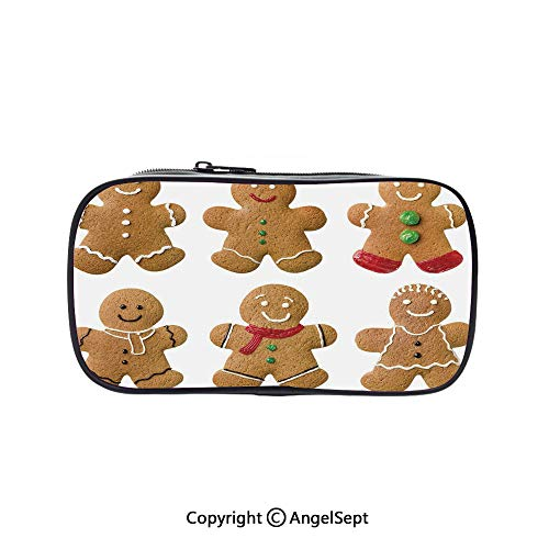 Cute Pencil Case - High Capacity,Vivid Homemade Biscuits Sugary Xmas Treats Sweet Tasty Pastry Decorative Light Brown Red Green 5.1inches,Multifunction Cosmetic Makeup Bag,Perfect Holder for Pencils]()