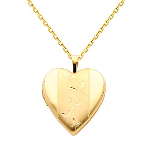14k Yellow Gold Butterfly Chain (Wellingsale 14k Yellow Gold Polished Butterfly Engraved Heart Locket Pendant with 1.2mm Oval Angled Cut Cable Chain Necklace - 18