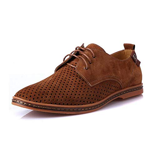 Men Oxfords Shoes Man 2019 Summer Breathable Suede Leather Shoes British Man Cut Outs Dress Shoes,Brown,8.5