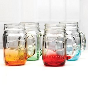 Mason Glasses Mixed Colors Set