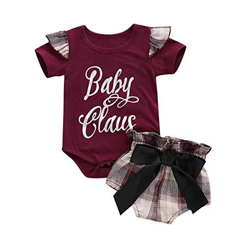 Newborn Baby Girls Clothes Ruffles Heart Print Short Sleeve Romper + Floral Pants+ Headband Summer Outfit Sets Red(12-18Months)