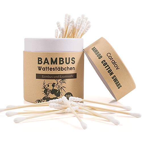 Coralov Bamboo Cotton Swabs | 200 ct Natural 100% Biodegradable and Recyclable Cotton Swabs for Ears | Organic wooden cotton swabs | Double Tipped,Cruelty-Free Sterile Sticks