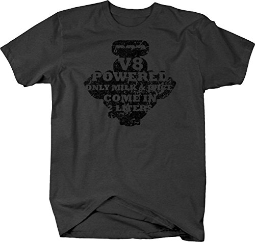 Distressed - V8 PoweredOnly Milk & Juice Muscle Cars Racing Tshirt - XLarge