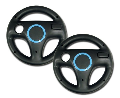 Rii Mario Kart Racing Wheel 2 Piece - Nintendo Wii, Black