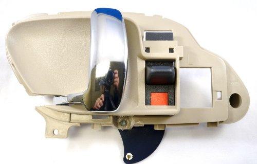 PT Auto Warehouse GM-2576MH-LH - Inside Interior Inner Door Handle, Light Beige/Tan Housing with Chrome Lever - Driver - Handle Door Light Inside