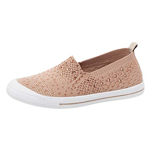 Shusuen Summer Women's Sneakers Breathable Flat Casual Sports Shoes Beige ()