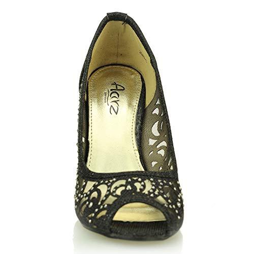 Signore Peep Diamante Alto Formato Nozze Sera Nero Il Di Donne Tacco Toe Sandalo Del Partito Calza Promenade PRzCYxxwfq