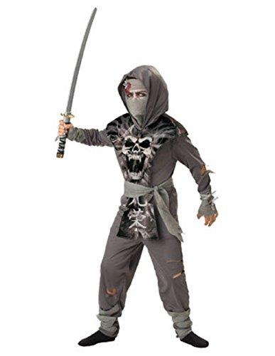 Boy Ninja Makeup Halloween (InCharacter Costumes, LLC Boys 8-20 Zombie Ninja Tabard Set, Gray,)